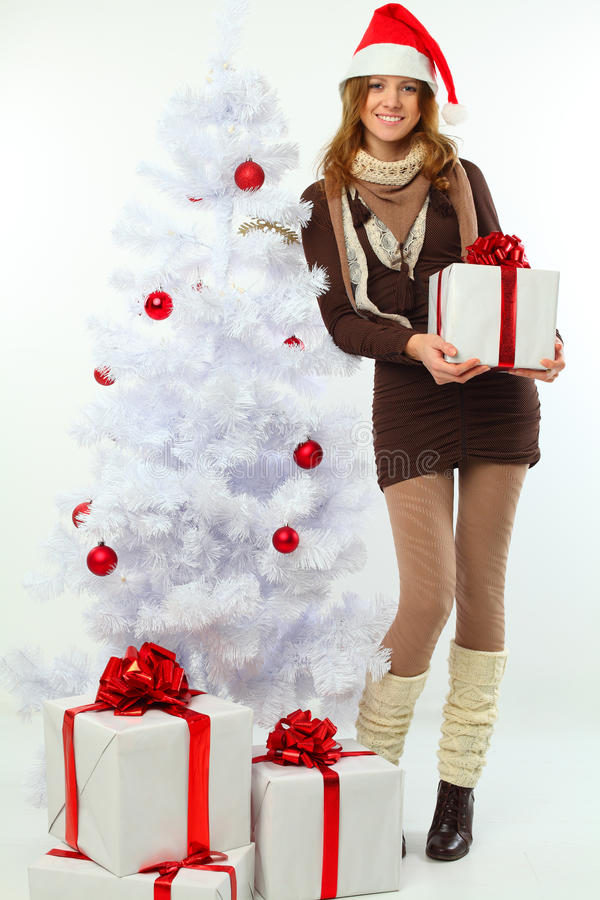 Download Christmas - Happy Girl With Gift And Snow Fir Stock Image - Image: 22357493