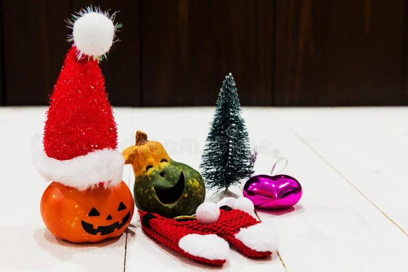 Christmas for happy Halloween pumpkin royalty free stock photos