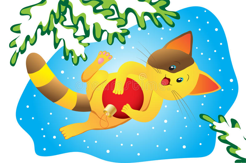 Download Christmas happy kitty stock vector. Image of invite, branch - 22124157