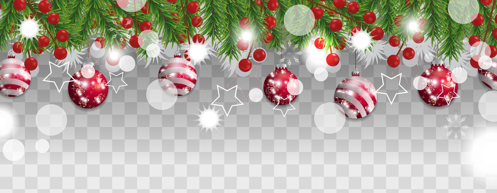 Christmas and happy New Year border of Christmas tree branches with red balls and holly berries on transparent background. Holidays decoration. Vector vector illustration