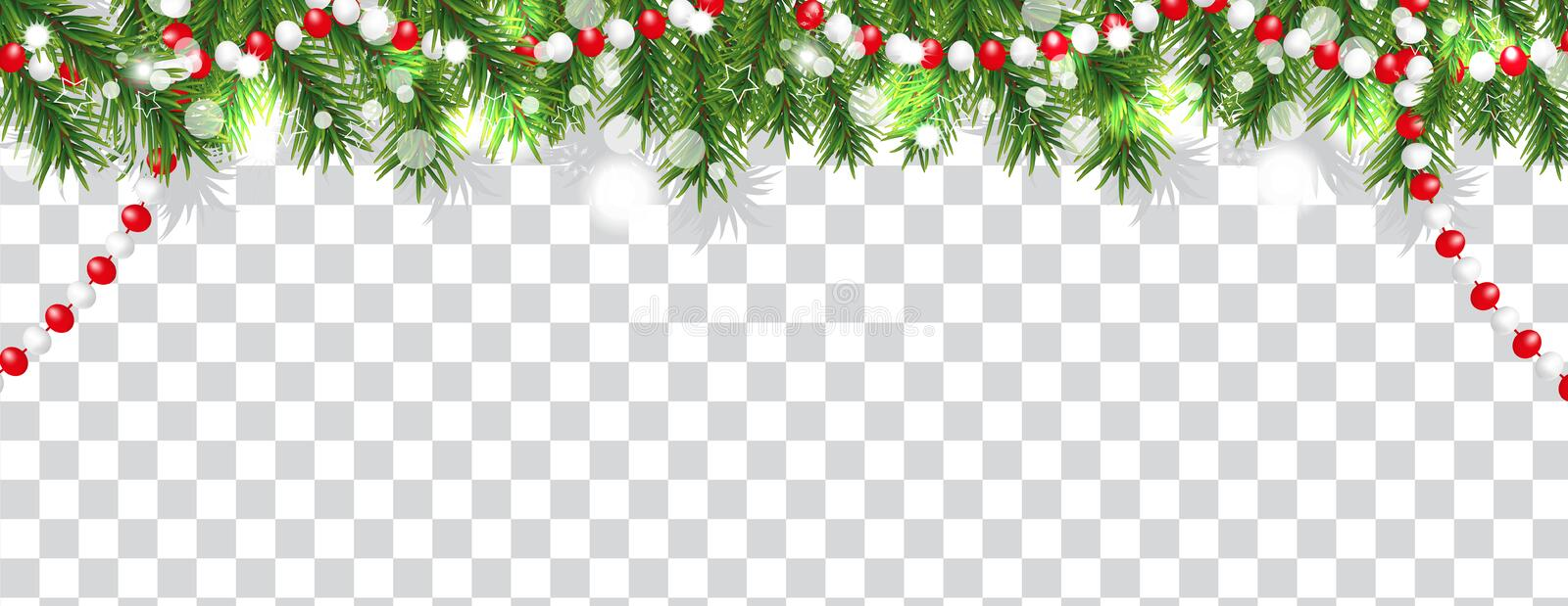 Christmas and happy New Year border of Christmas tree branches and beads on transparent background. Holidays decoration. Vector royalty free illustration