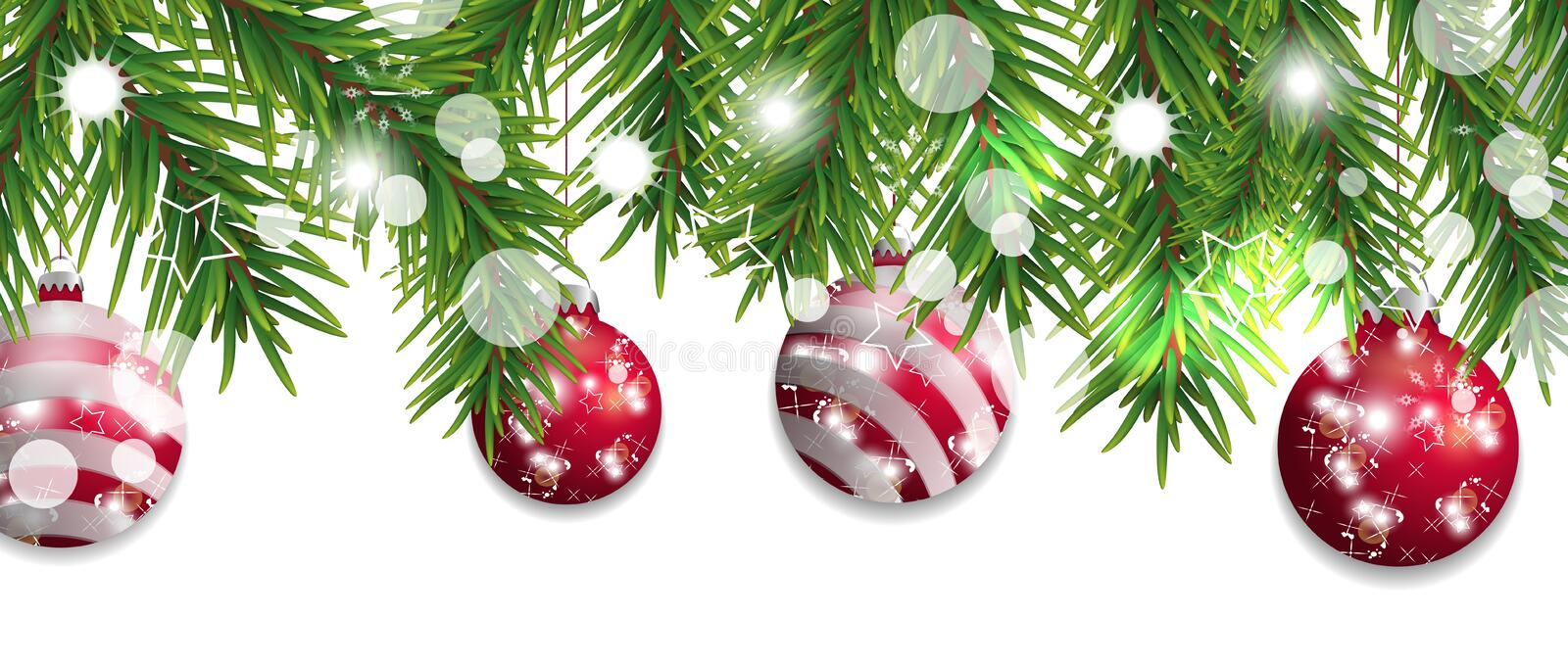 Christmas and happy New Year border of Christmas tree branches with red balls isolated on white background. Holidays decoration. royalty free illustration