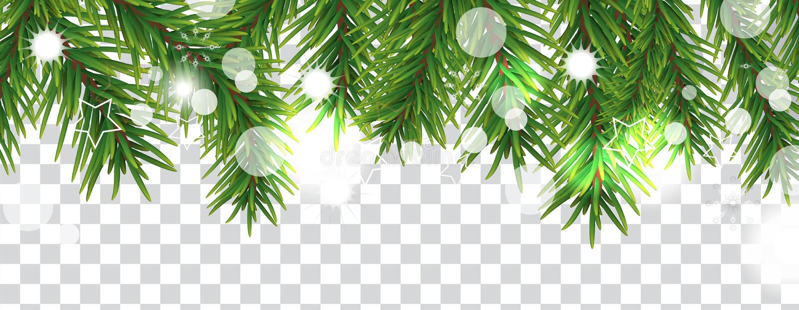 Christmas and happy New Year border of Christmas tree branches on transparent background. Holidays decoration. Vector vector illustration