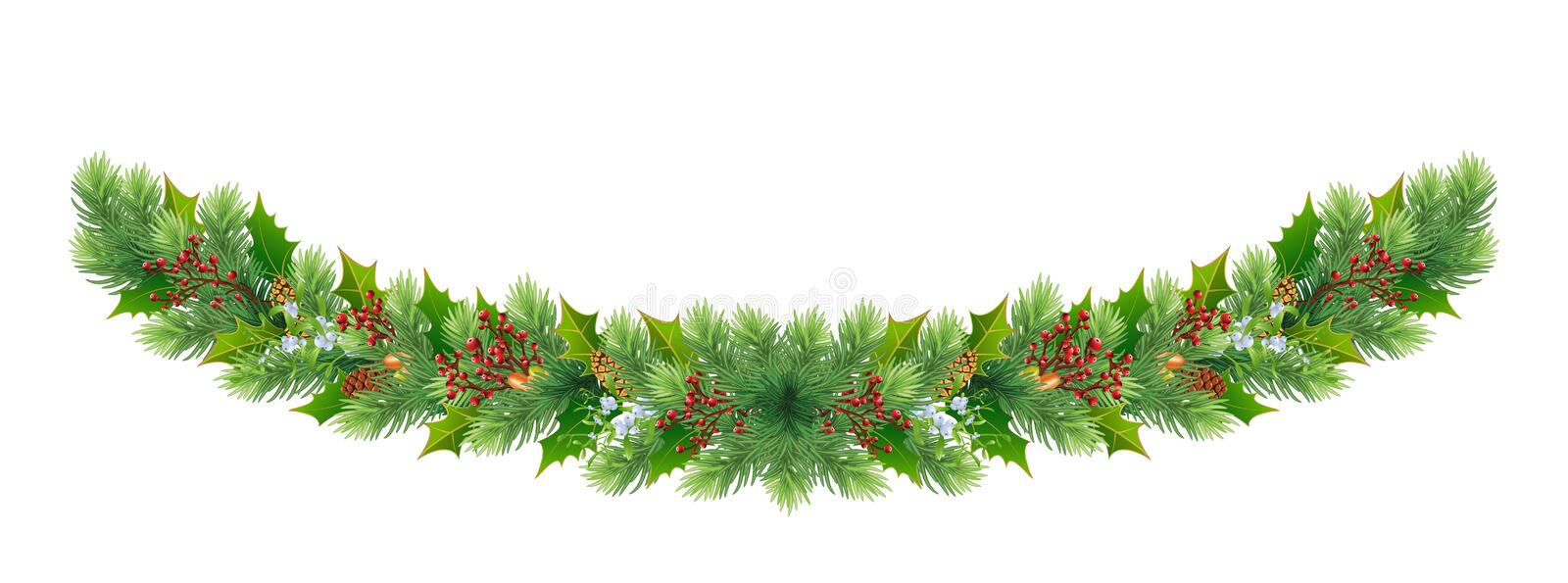Christmas and Happy New Year border/wreath/garland with fir-tree tree branches and red berries, cones, acorns, mistletoe. Christmas and New Year decorations for stock illustration