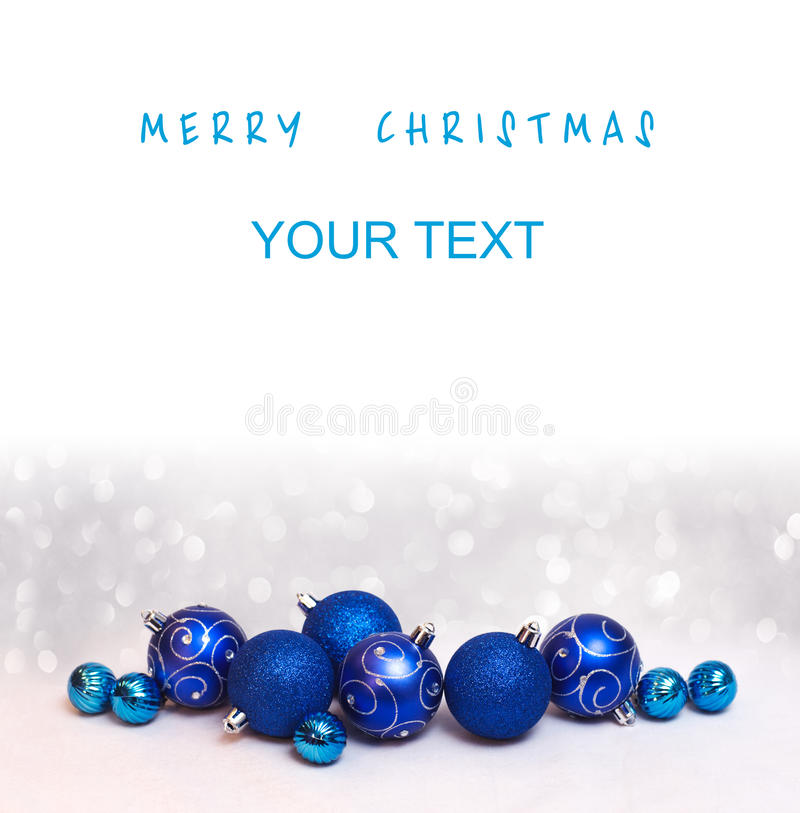 Christmas and Happy New Year card with blue balls and a free place for your text stock photos
