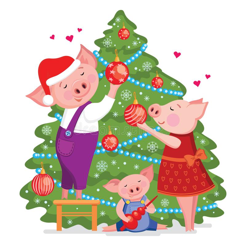 Christmas and Happy New year card with cute lovely family of pigs decorate a xmas tree. Vector illustration isolated on white back. Groud royalty free illustration