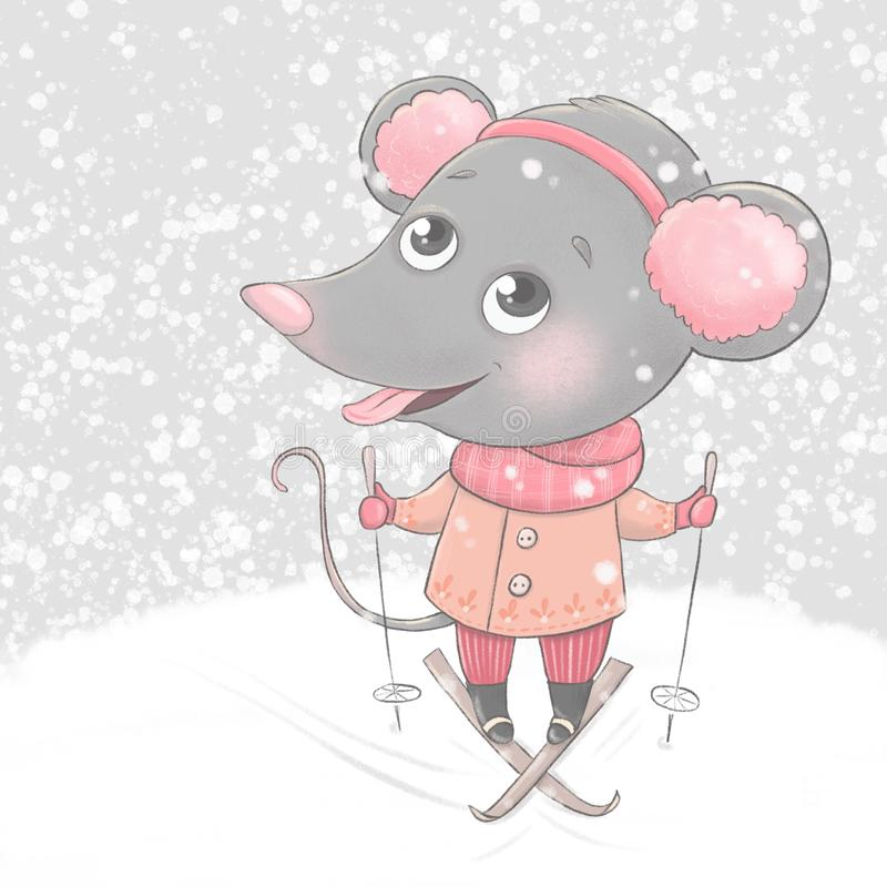 Christmas and Happy New year card with little cartoon mouse skier royalty free stock photography