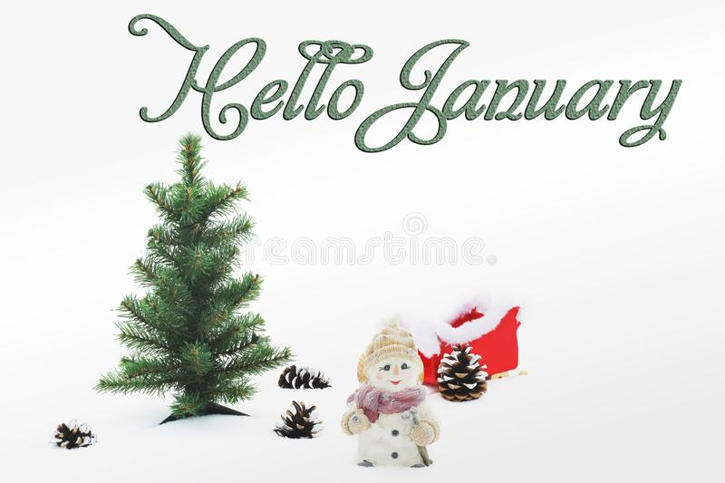 Hello January. Happy New Year. Christmas composition. Happy New Year. Christmas composition stock photo