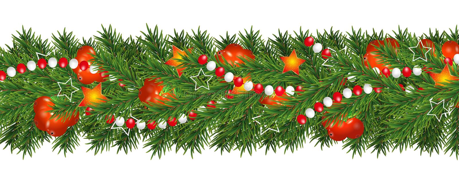 Christmas and happy New Year garland and border of Christmas tree branches decorated with holly Berries, stars and beads. Holiday. Decoration isolated on white vector illustration