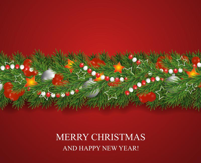 Christmas and happy New Year garland and border of Christmas tree branches decorated with holly Berries and silver baubles, stars. And beads. Holiday decoration stock illustration