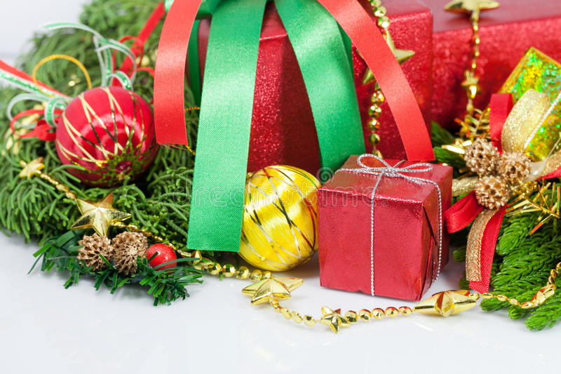 Christmas and Happy New Year gift boxes decorations. Close up Christmas and Happy New Year gift boxes decorations royalty free stock photography