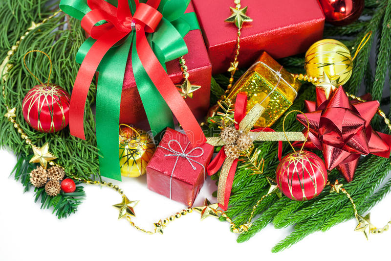 Christmas and Happy New Year gift boxes decorations. On white background stock photos
