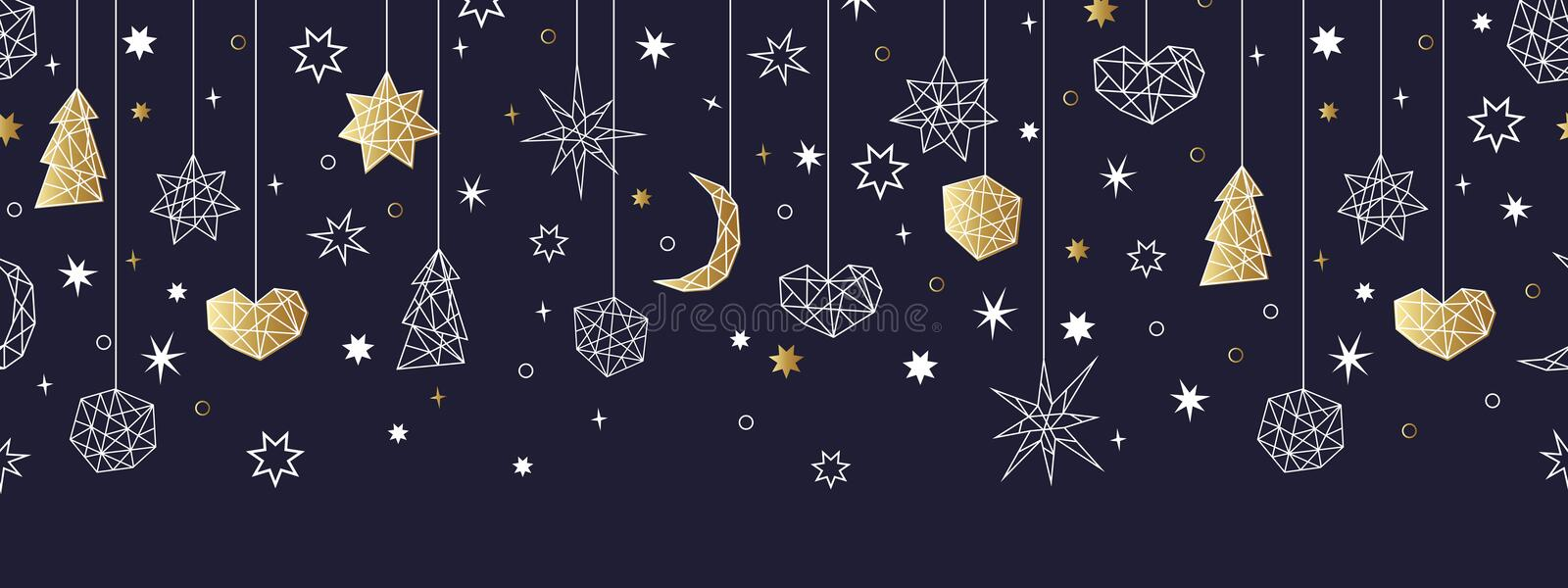 Christmas and Happy New Year gold seamless pattern. Merry Christmas and Happy New Year gold seamless pattern on the black background with stars, balls, noel royalty free illustration