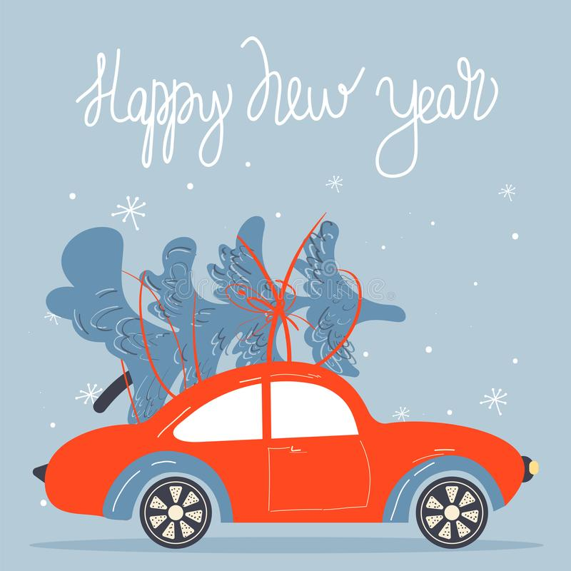 Christmas and Happy New Year greeting card with retro car and Christmas fir-tree and lettering. stock illustration