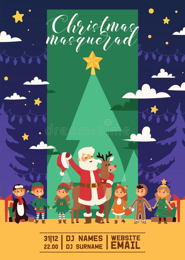 Christmas 2019 Happy New Year greeting card Santa and happy kids children costume vector background banner holidays stock illustration