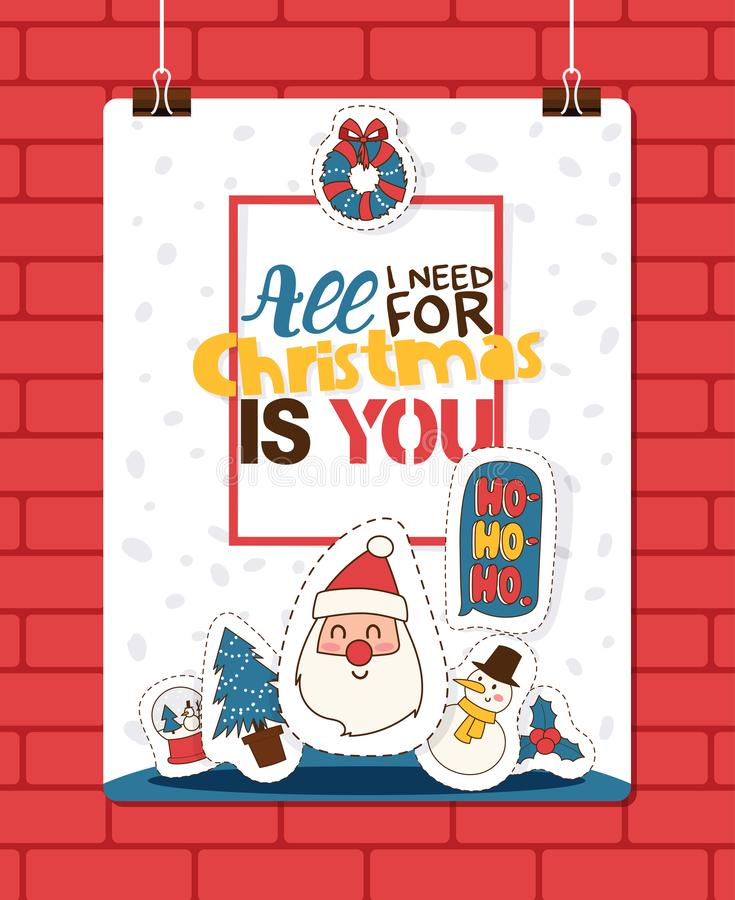 Christmas 2019 Happy New Year greeting card Santa and happy kids children costume vector background banner holidays royalty free illustration