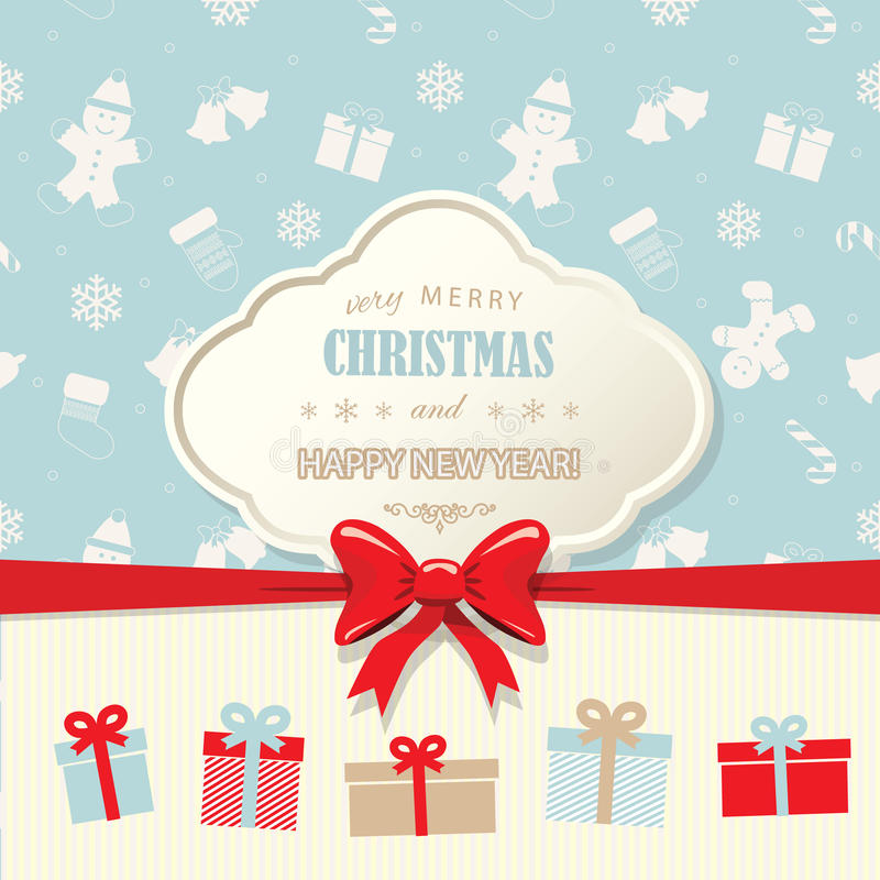Christmas And Happy New Year Greeting Card Template Vintage Design