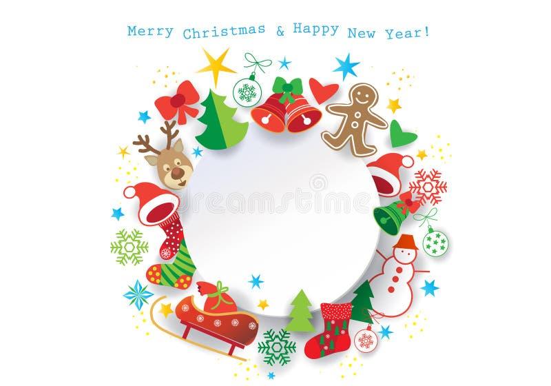 Winter Holiday Christmas greeting card frame stock illustration
