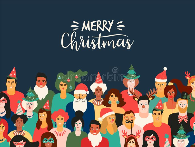 Christmas and Happy New Year illustration with people in carnival costumes. Vector design template. royalty free illustration