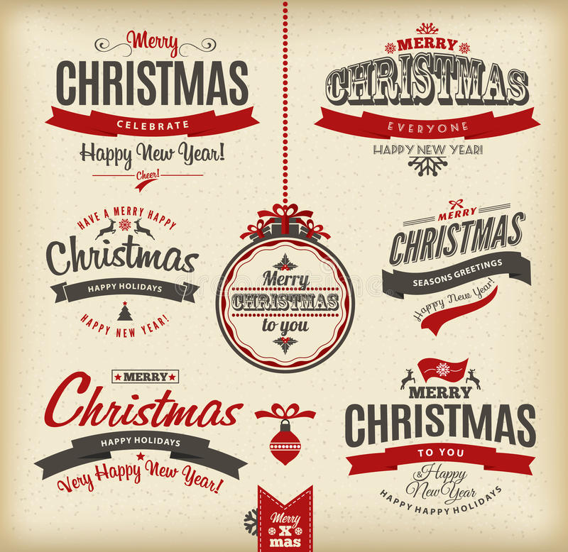 Christmas and happy new year letteting. vector illustration