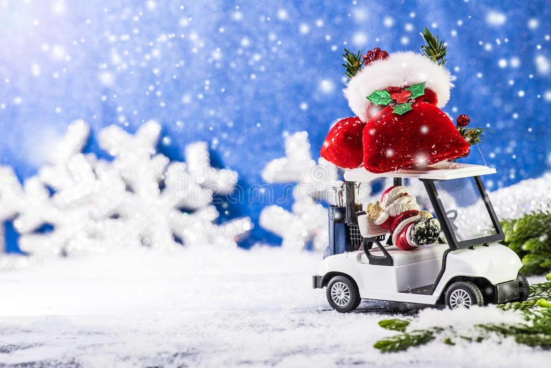 Christmas and Happy New year. Merry Christmas and Happy New year, winter concept, Golf car royalty free stock photo