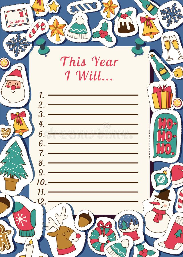 Christmas 2019 Happy New Year Santa letter greeting card happy wish list paper sheet background banner holidays winter stock illustration