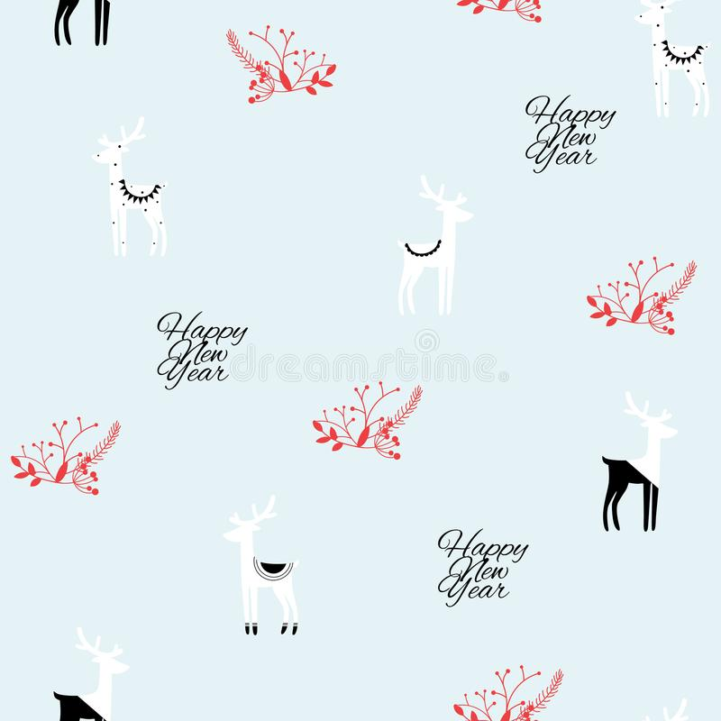 Christmas and Happy new year seamless pattern of black white deer on light blue background. stock illustration