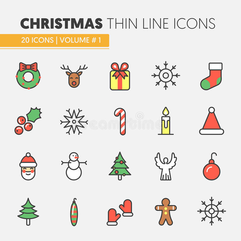 Christmas and Happy New Year 2017 Thin Line Icons Set with Santa Claus Reindeer and Christmas Tree vector illustration