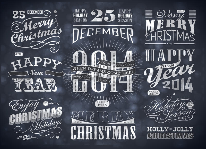 Christmas and Happy New Year typography stock illustration