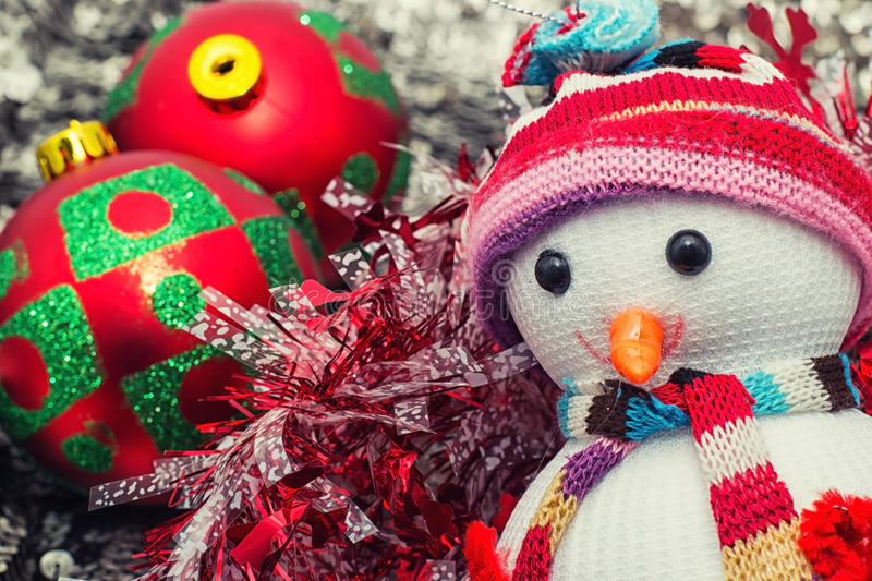 Christmas happy snowmans. Christmas toys and trinkets for the holiday royalty free stock photo