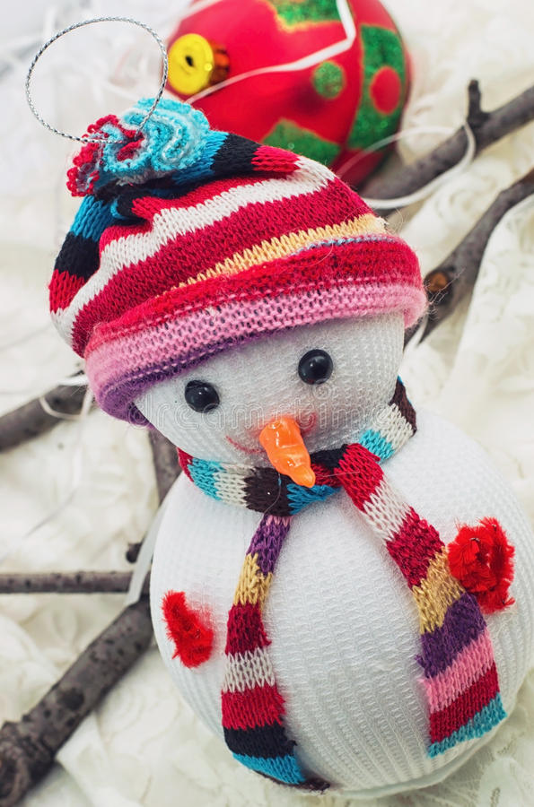 Christmas happy snowmans. Christmas toys and trinkets for the holiday stock image