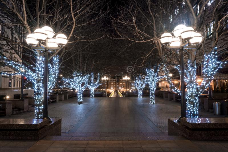 Christmas has arrived to this square in Canary Wharf royalty free stock images