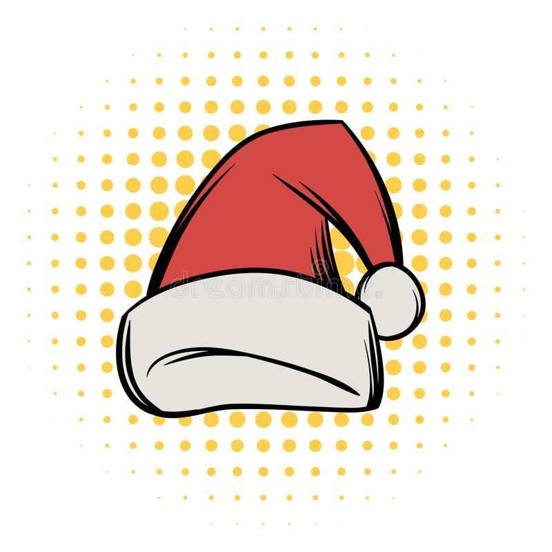 Christmas hat comics icon. On a white background royalty free illustration