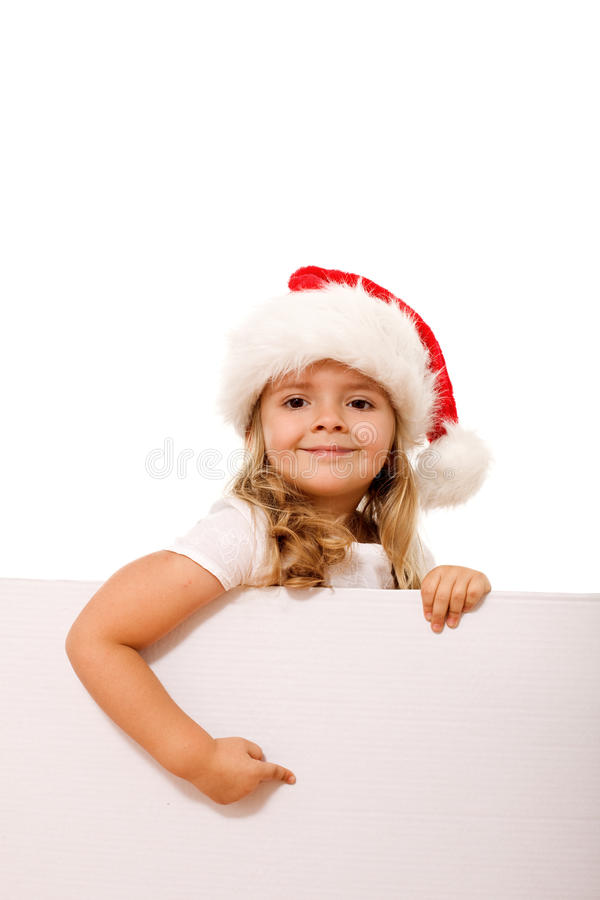 Download Christmas Hat Girl Pointing To White Banner Stock Photo - Image: 11649484