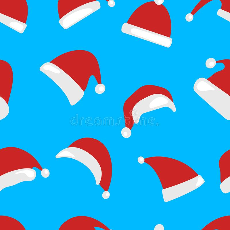 Christmas hat seamless pattern isolated vector illustration