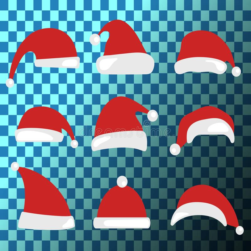 Christmas hat set. Santa Claus hats collection. stock illustration