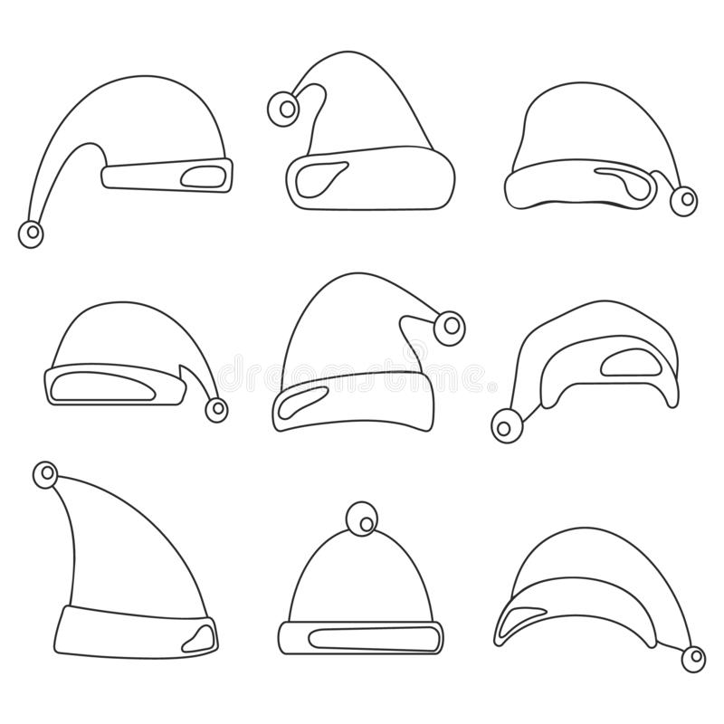 Christmas hat set. Santa Claus hats line design stock illustration