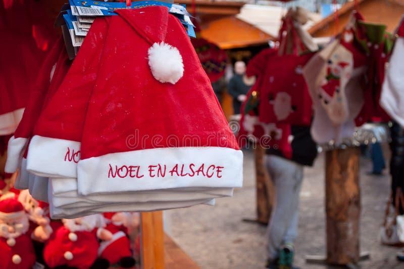 Christmas hats at the christmas market. Mulhouse - France - 22 November 2015 - christmas hats at the christmas market royalty free stock photography