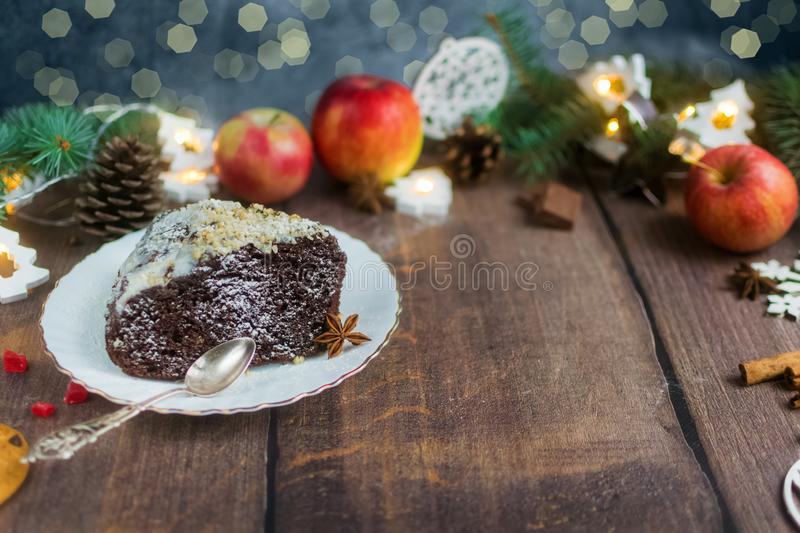 Christmas healthy brownie cake in the style of paleo gluten-free. Dairy-free dessert royalty free stock images