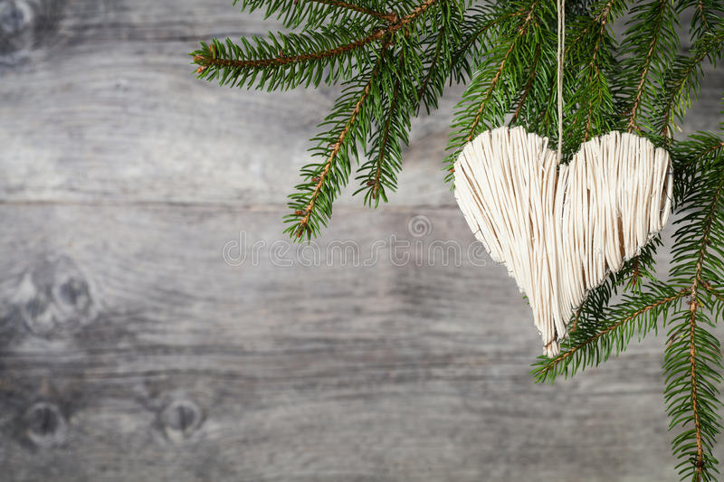 Christmas heart. On wooden background royalty free stock images
