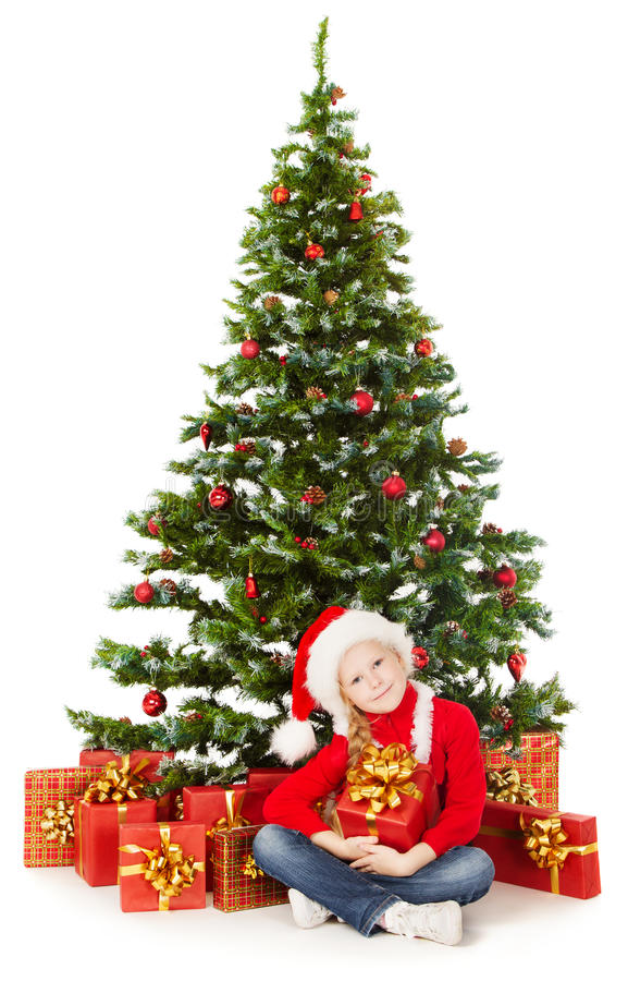 Free Christmas Helper Child In Santa Hat, Gift Box Unde Royalty Free Stock Image - 34212496