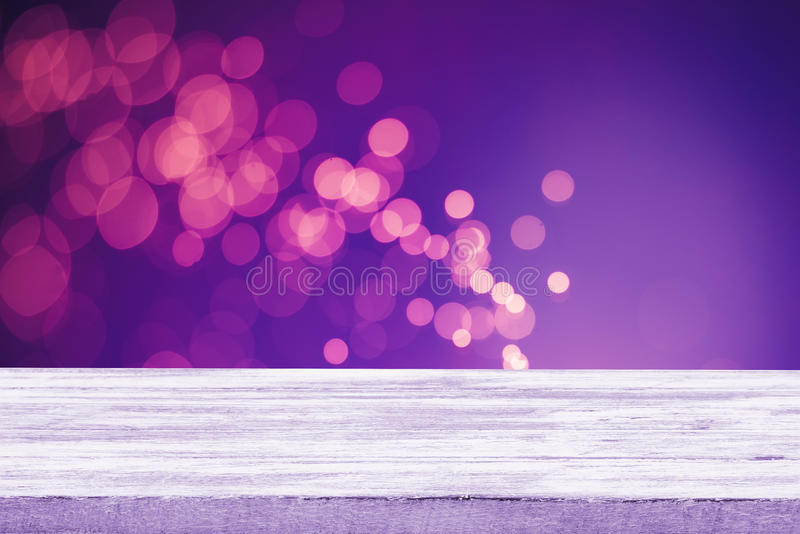 Christmas holiday background with empty wooden deck table.  stock illustration