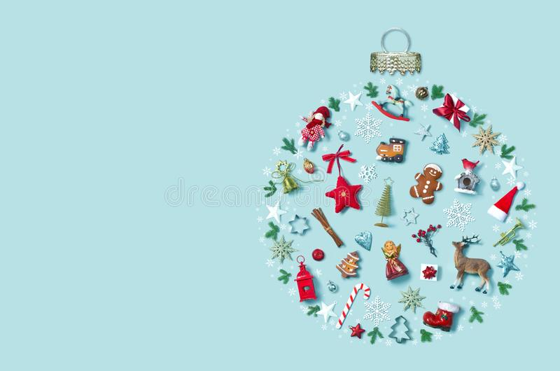 Christmas holiday background with objects in bauble ornament shape, top view royalty free stock photos
