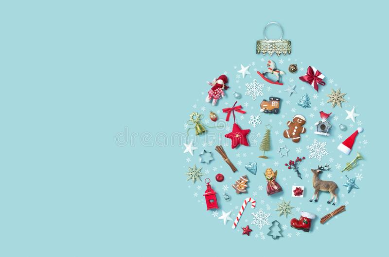 Christmas holiday background with objects in bauble ornament shape, top view stock images