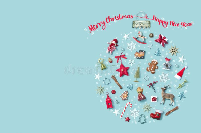 Christmas holiday background with objects in bauble ornament shape, top view stock photography