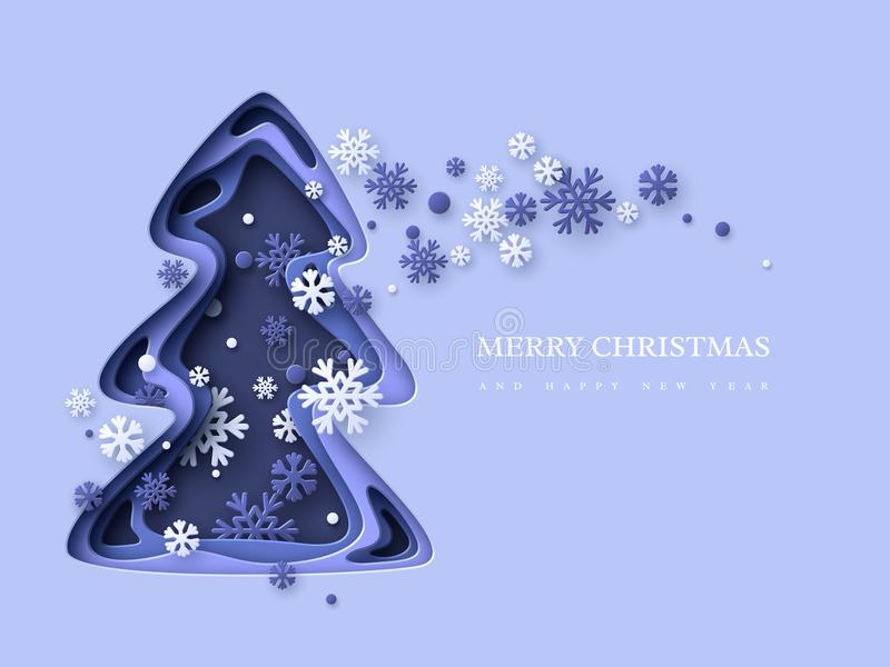 Christmas holiday background. Paper cut Christmas tree with snowflakes. 3d layered effect in blue colors, vector stock illustration