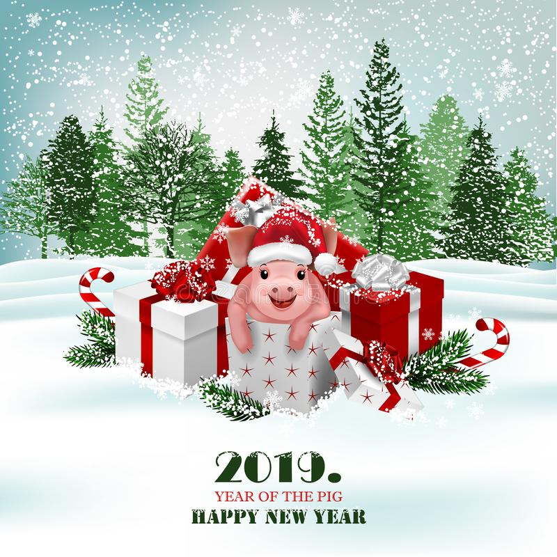 Christmas holiday background with presents and cute pig. Vector stock illustration