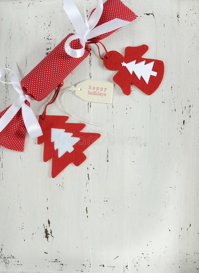 Download Christmas Holiday Background With Red And White Theme Handmade Fabric Bon Cracker