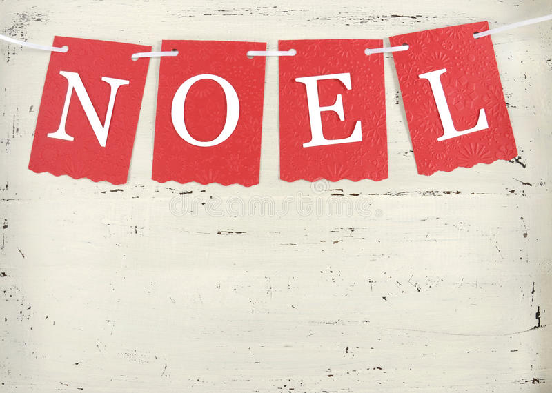 Christmas Holiday background with red and white theme Noel bunting. Festive Christmas Holiday background with red and white theme Noel bunting letters on vintage royalty free stock photography