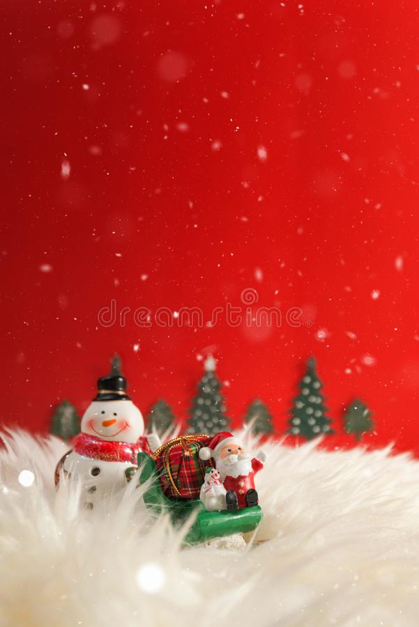 Christmas holiday background with Santa and decorations. Christmas landscape with gifts and snow. Merry christmas and happy new ye. Ar greeting card with copy royalty free stock photo
